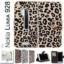 Nokia Lumia 928 Leopard Pattern Luxury Wallet Case With Stand - Free Shippi