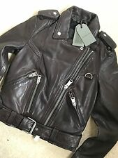 "ALL SAINTS WOMEN'S OXBLOOD ""GIDLEY"" LEATHER BIKER JACKET - UK 6 8 10 - NEW TAGS"