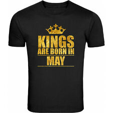 100% Cotton T-Shirt for Men's Kings are Born in May Gold (Osiyankart)
