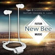 Auricolare Hi Fi Stereo In Ear In Cuoio Tipo USB C Per HTC10 Huawei P9 Android