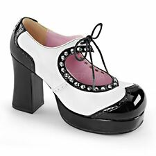 Demonia Platform Two Tone Lace Up Heart Cut Out Black Patent-White Vegan Leather