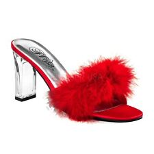 Fabulicious by Pleaser ROMANCE-301F Marabou Slide Women's Red Satin-Fur