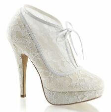 Fabulicious LOLITA-32 Platform Lace Overlay Bootie With Bow Tie Ivory Lace-Satin