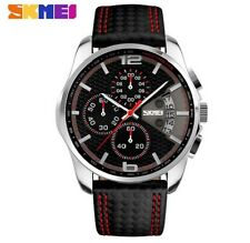 SKMEI Man Cronografo Sport Watch Leather orologio al quarzo Waterproof Clock