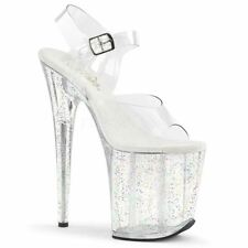 Pleaser FLAMINGO-808MG Platform Ankle Strap Sandal With Glitters Clear/Clear