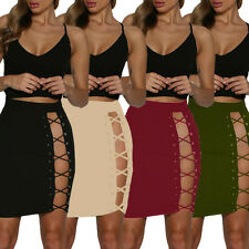 Fashion Women's Sexy Bodycon Bandage Short Skirt Slim Fit Lace-Up Tight Skirt