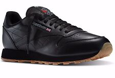 MENS REEBOK 49798 CLASSIC LEATHER BLACK GUM COMFORT ALL SIZES WALKING SHOES
