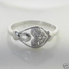Sterling silver 925 Three heart Single studded Beautiful Diamond Ring For girls