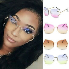 Men Women Mirrored Sunglasses Rimless Glasses Oversized Clear Lens Sunglasses RC