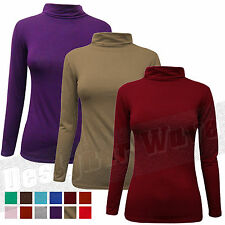 Ladies Womens Polo Neck Top Plain Stretch T shirt Jumper Long Sleeve Fitted