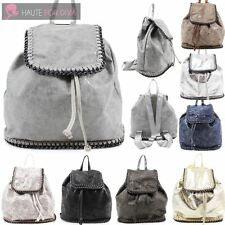LADIES NEW FAUX LEATHER CHAIN TRIM DRAWSTRING SCHOOL TRAVEL BACKPACK RUCKSACK