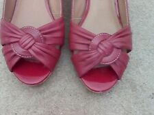 Marks & Spencer Footglove Leather Wedge Shoes Size 6 RED - PeepToe - Summer
