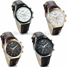 Fashion Men's Leather Band Stainless Steel Sport Quartz Analog Wrist Watch Gift