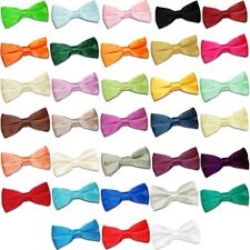 Premium Satin Plain Solid Kids Boy's Formal Wedding Elasticated Pre-tied Bow Tie