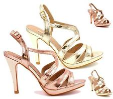 Womens Ladies Rose Gold Strappy Party Sandals High Heel Prom Stiletto Shoes Size