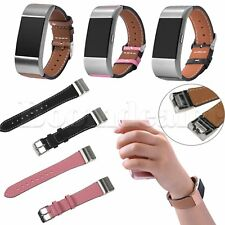 Genuine Leather + Metal Connector Wristband Strap for Fitbit charge 2 Tracker BU