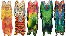 PLUS SIZE HIPPIE BOHO SUMMER INSPIRED EMBELLISHED FAUX RHINESTONE LONG KAFTAN