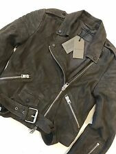 "ALL SAINTS WOMEN'S GRAPHITE ""HITCHEN"" LEATHER BIKER JACKET - UK 6 8 10 NEW TAGS"