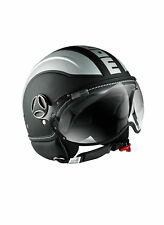 Casco Jet MOMO DESIGN Avio Fighter Nero e Silver Opaco Aperto Visiera Scooter