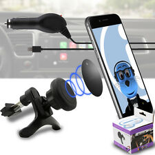 Magnetic Air Vent In Car Holder & Car Charger for Alcatel One Touch 606 Chat