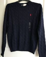 BNWT MENS POLO RALPH LAUREN CREW NECK ROVING CABLE KNIT JUMPER/SWEATER NAVY