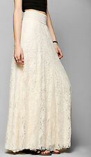 Gonna Lunga Estiva Pizzo Donna Bianca o Crema - Woman Maxi Lace Skirt 130034 P