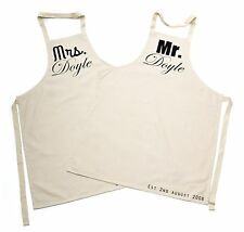 Personalised Pair of Mr & Mrs Aprons, Wedding gift, Anniversary, couples gift