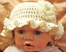 IVORY BABY GIRLS HAND CROCHETED HAT knit shower gift romany bling vintage  aiva