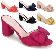 LADIES FAUX SUEDE BOW FRONT SLIP ON MULES PEEP TOE WOMENS SHOES SANDALS SIZE