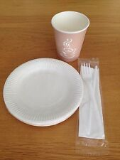 Set Of Disposable Paper 8oz Cups 6inch Plates Fork Knife Tableware Party Travel