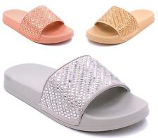 NEW WOMENS LADIES FLAT SLIP ON STUDDED DIAMANTE SLIDERS MULES SANDALS SHOES SIZE