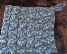 Hand knitted/crochet baby pram/buggy/moses/crib blanket, colourway blue & green