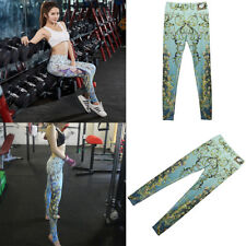 Women's Elastic Workout Pants Quick Dry Active Printed Leggings with Foot Straps