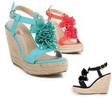 Ladies High Wedge Flower Espadrilles Ankle Strap Platform Peep Toe Sandals Size