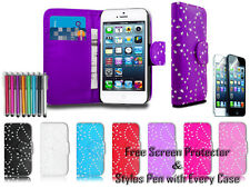 Diamond Leather Pu Wallet Sparkle Gem Bling Case Cover For Apple iPhone 5 5G 5S