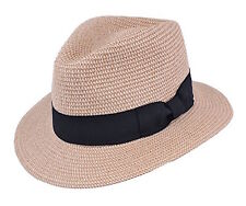 Paja Panamá / tipo Fedora hat-packable-traditional VINTAGE styling-natural