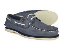 Timberland Classic 2 Eye Mens Blue Leather Lace Up Boat Deck Shoes A130M