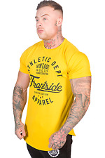 Mens Longline Gym T-Shirt Yellow Curved Hem Bodybuilding Workout Training