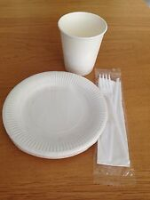 Set Of Disposable Paper 8oz Cups WHITE 6inch Plates Fork Knife Tableware Party