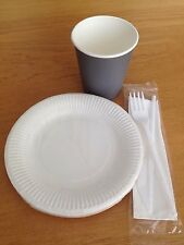 Set Of Disposable Paper 8oz Cups GREY 6inch Plates Fork Knife Tableware Party