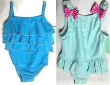 NEW Baby Girls Blue Ruffle Gingham Swimming Costume Swimsuit Age 9-12 Months A13