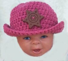BABY GIRLS HAND CROCHETED COWBOY HAT photoprop knit stetson fedora handmade rose