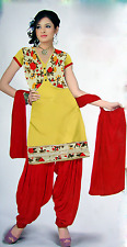 Unstitched Printed Patiala Dress material (Yellow, Green, Pink, Peach D No.7016)