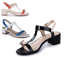 WOMENS MID BLOCK HEEL ANKLE BUCKLE STRAP SANDALS LADIES PEEP TOE PARTY SHOES 3-8