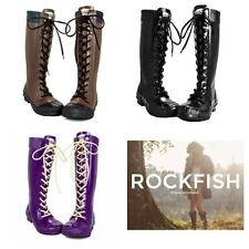 Rockfish Ladies Tall Lacey Long Knee High Wellingtons Boots Waterproof Wellies