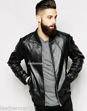 ADARGA 100% Genuine Lambskin Black Leather Designer Biker Jacket Men's