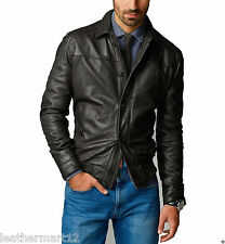 ADARGA 100% Genuine Lambskin Black Leather Designer Biker Blazer Jacket Men's