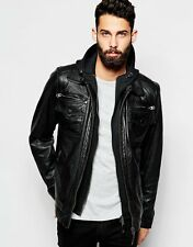 ADARGA Genuine Lambskin Black Leather Designer Winter Jacket for Men's