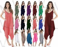 Women's Cami Strappy Romper Ladies Hareem Lagenlook Baggy Playsuit Jumpsuit 8-22