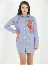 Womens Ladies Flower Embroidered Long Sleeve Vintage Shirt Dress Casual Blouse